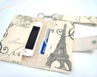 iphone Card Wallet - Cell Phone Case  with Detachable Handle - Eiffel Tower Natural and Gray