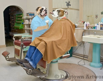 Barbershop, large original photograph of a white boxer customer getting shaved by English bulldog barber