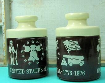 Vintage Salt and Pepper Shakers America Becentennial