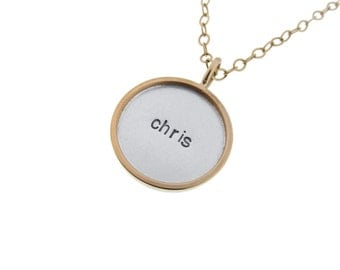 Gold Rimmed Silver Name Necklace Personalzied Kid's Name Charm Hand Stamped Engraved Mommy Dad Pendant Artisan Handmade Fine Unisex Jewelry
