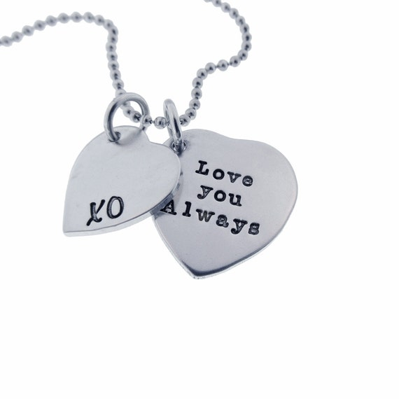 Personalized Silver Heart Charm Necklace Hand Stamped Sterling Valentine's Gift Quote Jewelry Custom Engraved Artisan Handmade Fine Designer