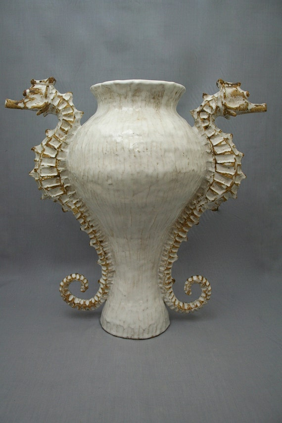 Large Ceramic Seahorse Vase / Urn by Shayne Greco Beautiful Nautical Shabby Chic Mediterranean Sculpture Pottery