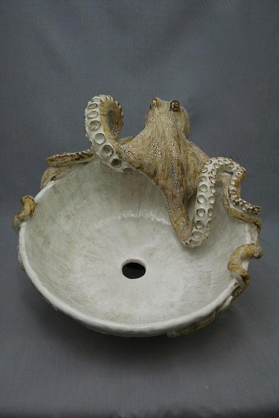 Large Hand made Ceramic Octopus Vessel Sink by Shayne Greco Beautiful ...