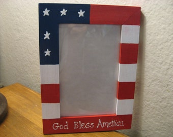 Personalized Americana Frame 4th of July God Bless America patriotic picture photo frame