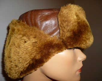 Dive BOMBER - Antique 1940's - WWll - US Military Style - Air Force - Brown - Leather Shearling - Ushanka - Aviator - Pilot - Bomber - Hat