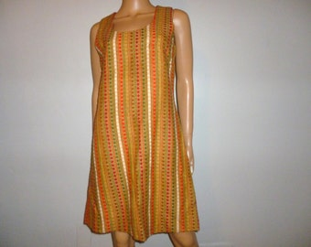 """In Between the LINES - Vintage 60's - Vertical - PINSTRIPE - Textured - Knit - Mini - Mod - Go Go Girl - Shift - A-Line - Dress - 36"""" bust"""