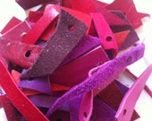 leather scraps - red, fucsia, violet, pink