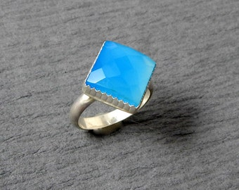 Medium Blue Chalcedony Sterling Silver Ring Size 7