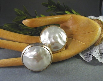 Vintage Judy Lee Baroque Pearlized Button Earrings