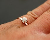 Prong-Set Rough Large Diamond Engagement Ring in Recycled 14k  Gold- Size D Diamonds