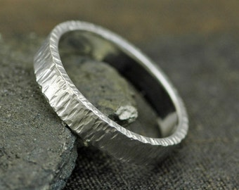 Thick Sterling Silver Band-  Birch Bark Texture
