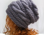 Knitted Hat Slouchy Beanie- Slouch Hat, Hand Knit Slouchy Hat, Slouch Beanie, Cable Knit Hat, Mens Hat, Womens Hat, Grey Hat