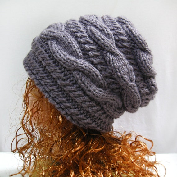 Hand Knit Hat Wool Hat Slouchy Hat Cable Pattern Hat by lanadearg