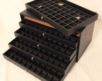 5 Drawer Multipurpose Bead And Gem Storage Case 250 Compartments Black Inserts   SALE