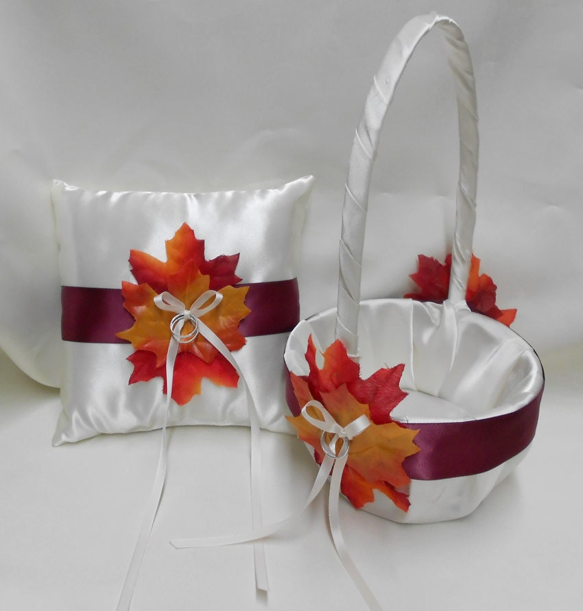 Flower Girl Baskets Fall : Wedding accessories fall ivory burgundy flower girl basket