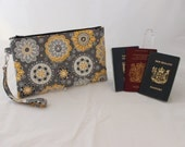 Multiple Passport Holder - family passport holder - travel document organizer - travel wallet - Grey Gray Yellow passport case MADE to ORDER