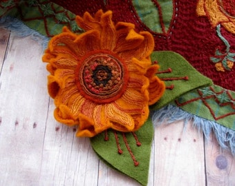 Sunflower Brooch after Van Gogh - Made to Order Embroidered Jewelry