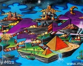 Custom Order - Levels - Print of Abstract Surreal Graffiti Art by Mizu