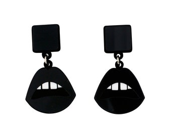 Lips drop earrings in black perspex mirror