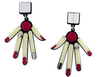 Hands drop perspex earrings