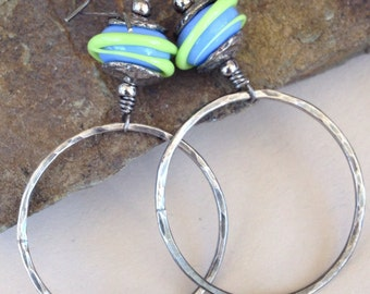 Hand Forged Large Sterling Silver Hoops and Lampwork Bead Earrings (125)