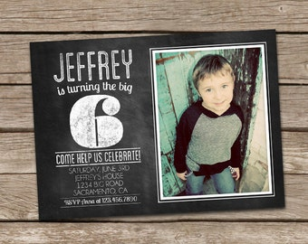Chalkboard Boy Birthday Invitation