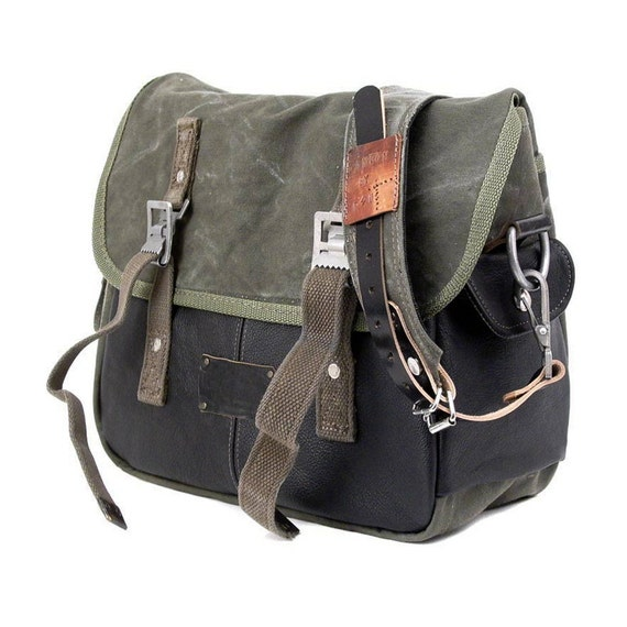 Olive Canvas Leather Messenger Bag, Crossbody Bag, Classic Messenger, Recycled Military Seabag, Recycled Leather / Upcycledin Germany-2082