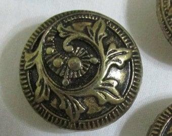 Vintage Button Covers Set of 6 Antique Gold Metal