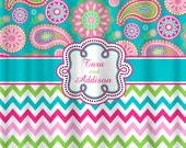 Personalized Designer Gypsy Paisley & Chevron Shower Curtain -Turquoise, Hot Pink, Pink, Lime Personalized