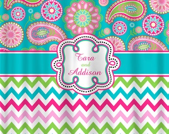 Personalized Designer Gypsy Paisley u0026 Chevron Shower Curtain -Turquoise,  Hot Pink, Pink, Lime Personalized