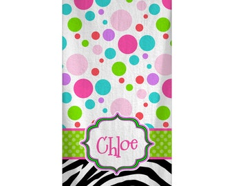 Custom Personalized Beach Towel -  Multi Polka Dots & Zebra Pattern - Color and Personalization of your choice