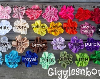 10 pc PiCK YouR CoLoRS- SaTIN RiBBoN FLoWERS 2 Inch Size