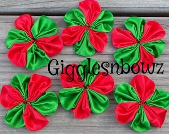6 pc CHRiSTMaS- TWO ToNE ReD/ EMERaLD GReeN SaTIN RiBBON Flowers 2 Inch Size