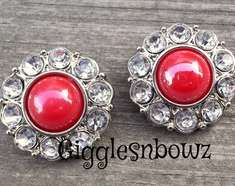 NEW Set of Two SHiNY AuTuMN ReD Pearl and Clear Rhinestone Buttons 25mm