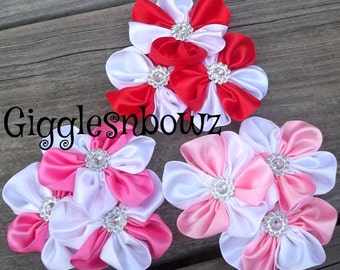 PiNKS/ReD Two-Tone Embellished Satin CLuSTeR Flowers- SeT of 3 NEW  2.5-3 inch Size