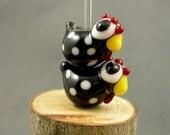 Glass Chicken Lampwork Bead Pair Hen Set SRA Animal Sculptural