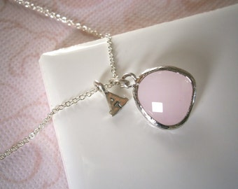 Personalized Necklace, Pink Necklace, Silver Necklace, Blush, Letter Necklace, Initial Necklace, Pendant Necklace,
