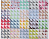 Retro Half Square Triangle (HST) Quilt Pattern (pdf file)