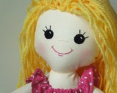 Blonde Long Haired Rag Doll - Doll with Clothes - Doll for Toddler - Handmade Rag Doll - Cloth Doll - Yellow hair doll
