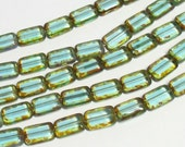 YEAR END CLEARANCE - Czech Glass 12x8mm Window Cut Rectangle - Light Aqua Picasso - 10 beads