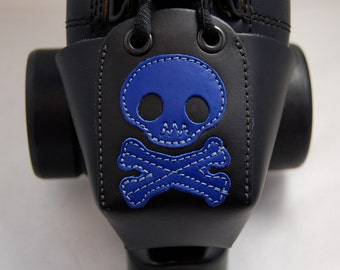 Leather Toe Guards with Cobalt Blue Skulls and Crossbones