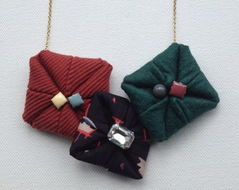 Paper Fortune Teller Necklace - felt & cotton cloth (BPFT13)