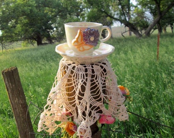 Vintage Teacup Tea Cup and Saucer Lusterware Flower with Butterfly