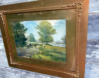 Antique 1908 Lithograph Boy Going Fishing with Cows along the River Gold floral frame