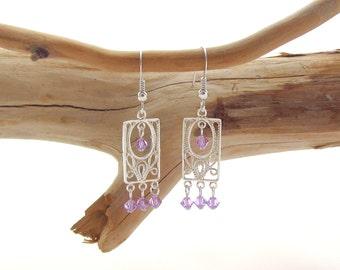 Rectangular Chandelier Earrings - Violet