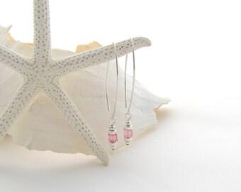 Saki Ear Wires w/Light Rose Swarovski Cubes