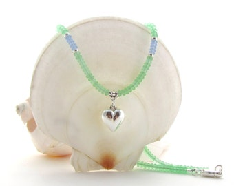 Green Matte Bead Necklace w/Puffed Heart