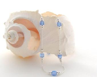 Sterling Silver Chain w/Light Sapphire Swarovski Beads