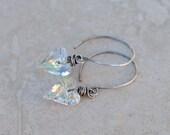 Valentine Earrings - Crystal AB Heart Earrings - Wire-Wrapped Swarovski Crystal Wild Hearts - Handmade Oxidized Sterling Silver Earwires