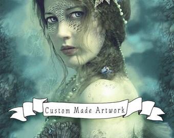 DEPOSIT 25% for Custom Made Artwork 2015, Mixed Media Fantasy Illustration